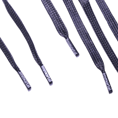flat black lace aglets with logo